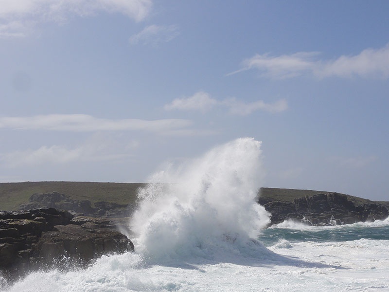 Waves crashing near Soleil D'or Guest House in Bryher Isles of Scilly